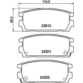 Bremsbelagsatz, Scheibenbremse HELLA Art.No - 8DB 355 011-841 OEM: 58302H1A00 für TOYOTA, HYUNDAI, KIA kaufen