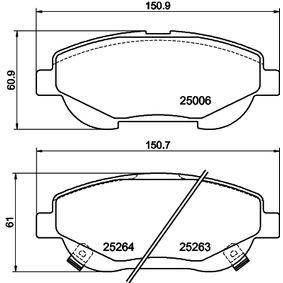 Bremsbelagsatz, Scheibenbremse HELLA Art.No - 8DB 355 015-691 OEM: 0446505260 für TOYOTA, LEXUS, WIESMANN, SATURN kaufen