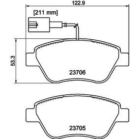 Bremsbelagsatz, Scheibenbremse HELLA Art.No - 8DB 355 016-071 OEM: 71770118 für FIAT, ALFA ROMEO, LANCIA kaufen