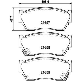 Bremsbelagsatz, Scheibenbremse HELLA Art.No - 8DB 355 016-351 OEM: 4106050Y90 für HYUNDAI, NISSAN kaufen