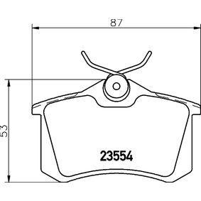 Bremsbelagsatz, Scheibenbremse HELLA Art.No - 8DB 355 019-911 OEM: 6025371650 für VW, AUDI, FORD, RENAULT, SKODA kaufen