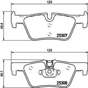 Bremsbelagsatz, Scheibenbremse HELLA Art.No - 8DB 355 019-971 OEM: 34216873093 für BMW, FORD, MINI, ALPINA kaufen