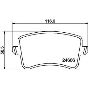 Bremsbelagsatz, Scheibenbremse HELLA Art.No - 8DB 355 025-381 OEM: 8K0698451E für VW, AUDI, SKODA, SEAT kaufen