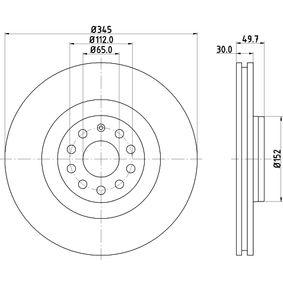 HELLA 8DD 355 109-541 Спирачен диск OEM - 1K0615301AB AUDI, SEAT, SKODA, VW, VAG, A.B.S., sbs, OEMparts евтино