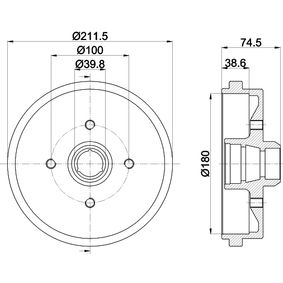 Bremstrommel HELLA Art.No - 8DT 355 301-631 OEM: 171501615A für VW, AUDI, FORD, SKODA, SEAT kaufen