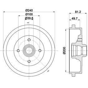 HELLA 8DT 355 301-701 Bremstrommel OEM - 1H0501615A AUDI, FORD, PORSCHE, ROVER, SEAT, SKODA, VW, VAG, FIAT / LANCIA, PARIS-RHONE, METELLI, REMSA, A.B.S., BRINK, APEC braking, KAWE, VW (FAW), DIAMAX, EURO ESPAÑA günstig