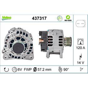 Lichtmaschine Art. No: 437317 hertseller VALEO für VW PASSAT billig