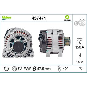 VALEO 437471 Generator OEM - 9646321780 ALFA ROMEO, CITROËN, FIAT, LANCIA, PEUGEOT, SUZUKI, CITROËN/PEUGEOT, INA, CITROËN (DF-PSA), LUCAS ENGINE DRIVE, MOTAQUIP, NPS, AS-PL günstig