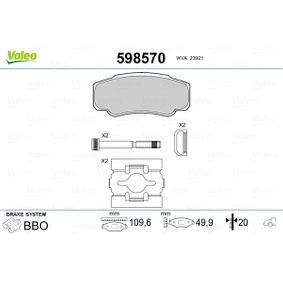 Bremsbelagsatz, Scheibenbremse VALEO Art.No - 598570 OEM: 425468 für FIAT, PEUGEOT, CITROЁN kaufen