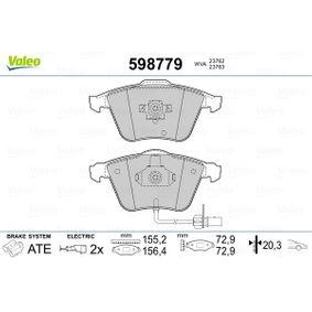 Bremsbelagsatz, Scheibenbremse VALEO Art.No - 598779 OEM: 8E0698151L für VW, AUDI, SKODA, SEAT, PORSCHE kaufen