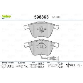 Bremsbelagsatz, Scheibenbremse VALEO Art.No - 598863 OEM: 1K0698151B für VW, AUDI, FORD, SKODA, NISSAN kaufen