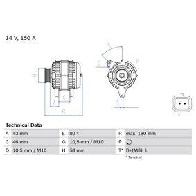 Generator BOSCH Art.No - 0 986 046 240 OEM: 96463218 für PEUGEOT, CITROЁN, SUZUKI, TVR kaufen