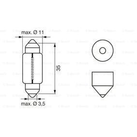 PANDA (169) BOSCH Number plate light bulb 1 987 302 211