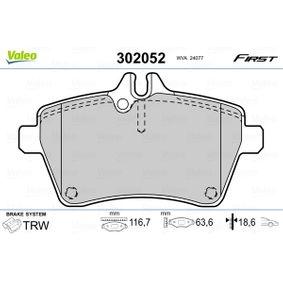 Bremsbelagsatz, Scheibenbremse VALEO Art.No - 302052 kaufen