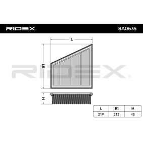 RIDEX 8A0635 Luftfilter OEM - 5JF129620A AUDI, SEAT, SKODA, VW, VAG, BIG FILTER günstig