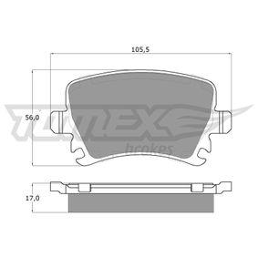 Bremsbelagsatz, Scheibenbremse TOMEX brakes Art.No - TX 13-95 OEM: 1K0698451D für VW, AUDI, FORD, SKODA, SEAT kaufen