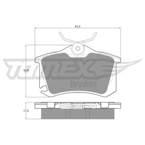 Bremsbelagsatz, Scheibenbremse TOMEX brakes Art.No - TX 15-22 OEM: 1K0698451A für VW, AUDI, SKODA, SEAT, CITROЁN kaufen