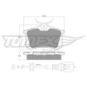 Bremsbelagsatz, Scheibenbremse TOMEX brakes Art.No - TX 16-15 OEM: 6Q0698451 für VW, AUDI, SKODA, SEAT, HONDA kaufen