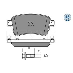 Brake Pad Set, disc brake MEYLE Art.No - 025 225 8818/PD OEM: SU001A6136 for TOYOTA, LEXUS buy