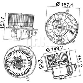 Interior Blower MAHLE ORIGINAL Art.No - AB 149 000P OEM: 1K1819015C for VW, AUDI, VOLVO, SKODA, SEAT buy
