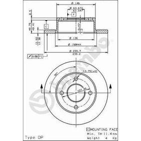 Bremsscheibe BREMBO Art.No - 08.4946.20 OEM: 6100043 für FORD kaufen