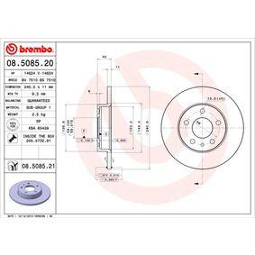 Bremsscheibe BREMBO Art.No - 08.5085.20 OEM: 60670804 für FIAT, ALFA ROMEO kaufen
