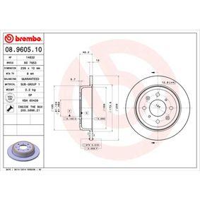 Спирачен диск BREMBO Art.No - 08.9605.10 OEM: GBD90817 за HONDA, SKODA, LAND ROVER, ROVER, MG купете