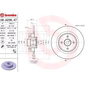 BREMBO Disco de travão Eixo traseiro, Ø: 274mm, Cheio 8020584016732 classificação