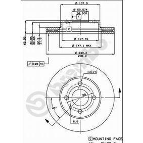 Bremsscheibe BREMBO Art.No - 09.3140.10 OEM: 60514881 für FIAT, ALFA ROMEO kaufen