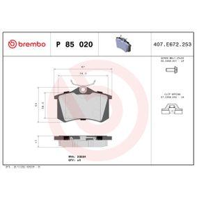 BREMBO Bremsbelagsatz, Scheibenbremse Hinterachse, Vorderachse Artikelnummer P 85 020 Preise