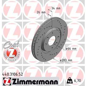 E169142 für PEUGEOT, CITROЁN, PIAGGIO, DS, TVR, Bremsscheibe ZIMMERMANN (440.3106.52) Online-Shop