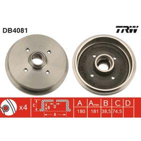 Bremstrommel TRW Art.No - DB4081 OEM: 171501615 für VW, AUDI, SKODA, SEAT, PORSCHE kaufen