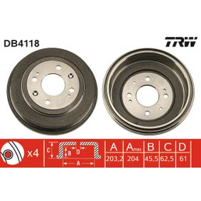 TRW Барабанни челюстни спирачки DB4118