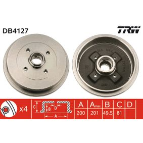 Bremstrommel TRW Art.No - DB4127 OEM: 115330192 für VW, AUDI, SKODA, SEAT kaufen