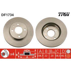 Bremsscheibe TRW Art.No - DF1734 OEM: 60514881 für FIAT, ALFA ROMEO kaufen