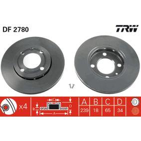 Bremsscheibe TRW Art.No - DF2780 OEM: 6N0615301F für VW, AUDI, SKODA, SEAT kaufen