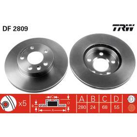 Bremsscheibe TRW Art.No - DF2809 OEM: 7D0615301A für VW, AUDI, SKODA, SEAT, PORSCHE kaufen