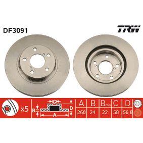 Bremsscheibe TRW Art.No - DF3091 OEM: 26300AE040 für SUBARU, BEDFORD kaufen