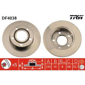 TRW Disc frana puntea spate, Ř: 245mm, plin, lacuit DF4038 de calitate originală