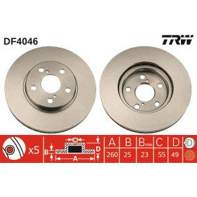 TRW Disc frana punte fata, Ř: 260mm, ventilat, lacuit DF4046 de calitate originală