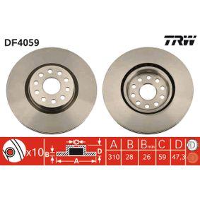 TRW Disc frana punte fata, Ř: 310mm, ventilat, lacuit DF4059 de calitate originală