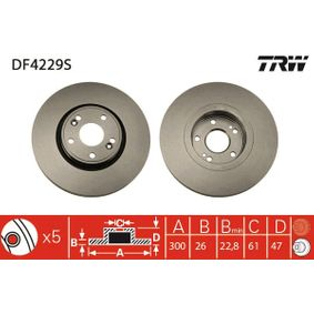 Bremsscheibe TRW Art.No - DF4229S OEM: 7701206614 für RENAULT, NISSAN, DACIA, RENAULT TRUCKS kaufen