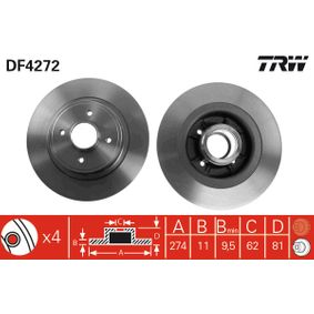 Disco de travão TRW Art.No - DF4272 OEM: 7701206328 para RENAULT, NISSAN, DACIA, RENAULT TRUCKS ordem