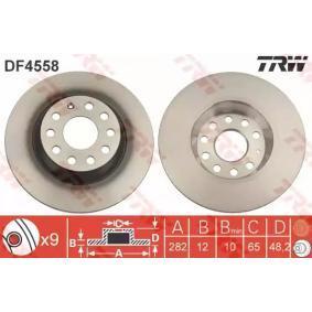 TRW DF4558 Спирачен диск OEM - 1K0615601AD AUDI, MAZDA, PORSCHE, SEAT, SKODA, VW, VAG, FIAT / LANCIA, MAGNETI MARELLI, METELLI, OPTIMAL, A.B.S., BRINK, VW (FAW), MAXGEAR, WAGNER, STARLINE, VIKA евтино