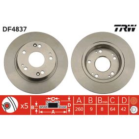 TRW HONDA CIVIC Tensioner pulley, v-ribbed belt (DF4837)