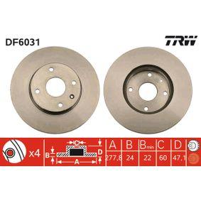Bremsscheibe TRW Art.No - DF6031 OEM: 96329364 für SUZUKI, CHEVROLET, DAEWOO, ROVER, ISUZU kaufen