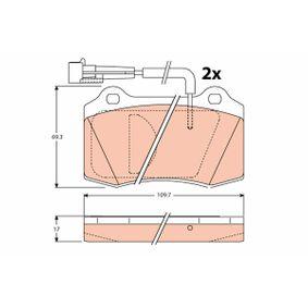 Bremsbelagsatz, Scheibenbremse TRW Art.No - GDB1191 OEM: 5892740 für FORD, FIAT, ALFA ROMEO, CHRYSLER, LANCIA kaufen