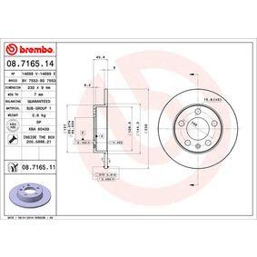 BREMBO Disco de travão Eixo traseiro, Ø: 230mm, Cheio, revestido Número do artigo 08.7165.11 preços