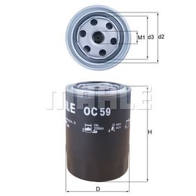 MAHLE ORIGINAL Filtro de aceite OC 59