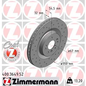 ZIMMERMANN MERCEDES-BENZ M-класа Спирачен диск (400.3649.52)